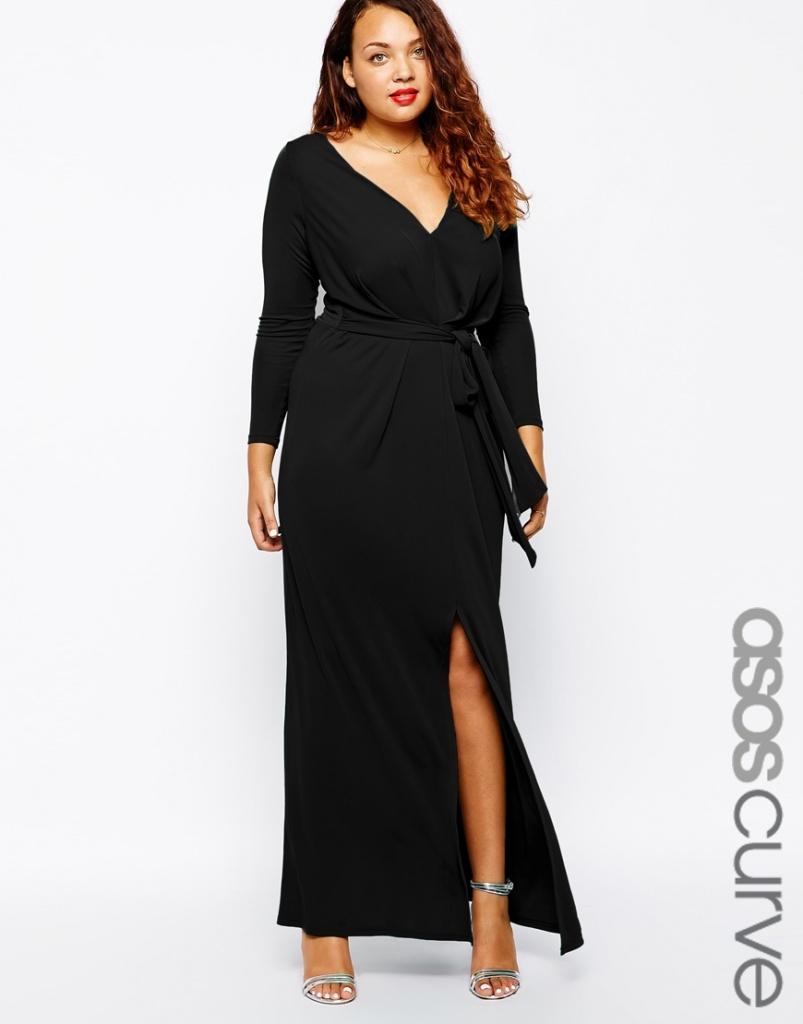 robe longue grande taille fendue manches longues noire