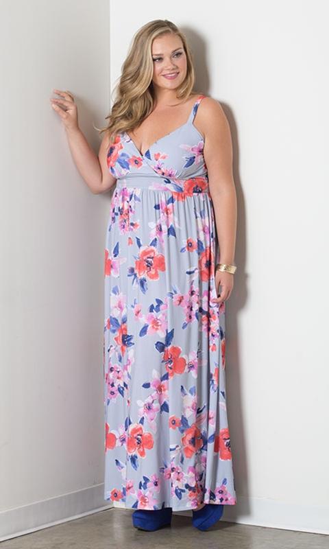 robe longue grande taille fleurie a bretelles