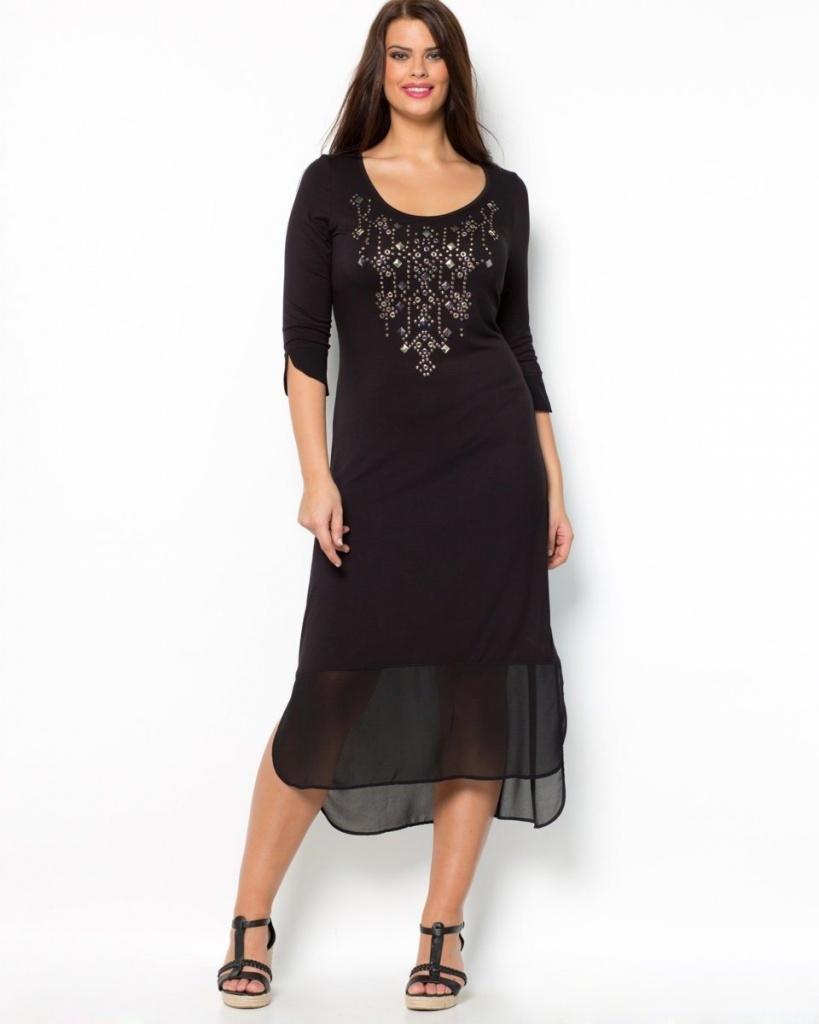 9ebc7a985ef robe longue grande taille hiver voile noir manche 3 4 taille 46 - la ...