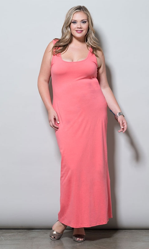 robe longue grande taille rose bretelles coupe droite