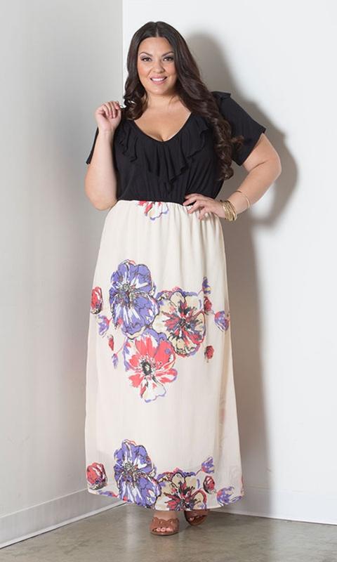 robe longue grande taille smockee bivolore top noir jupe blanche a fleurs