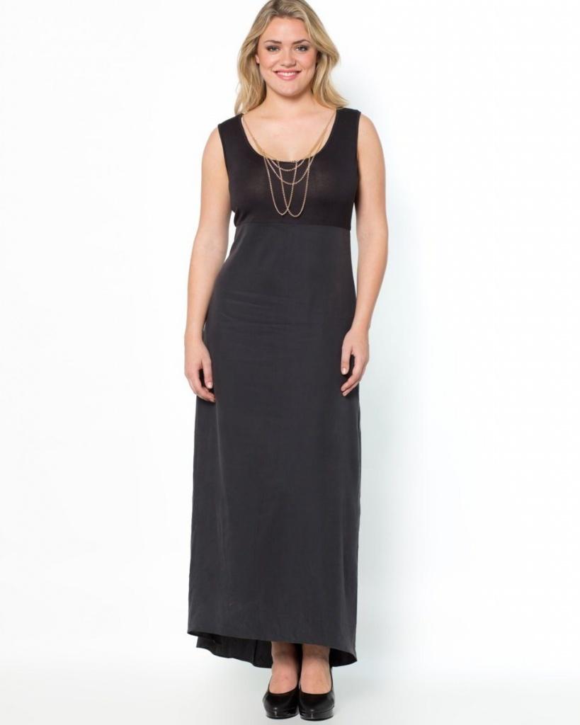 robe longue grande taille xl moulante noire et sans manche