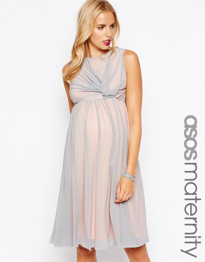 robe longue grossesse cocktail voile superpose 2 couleurs gris et rose