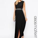robe longue grossesse noire ceinturee habillee pour grande occasion