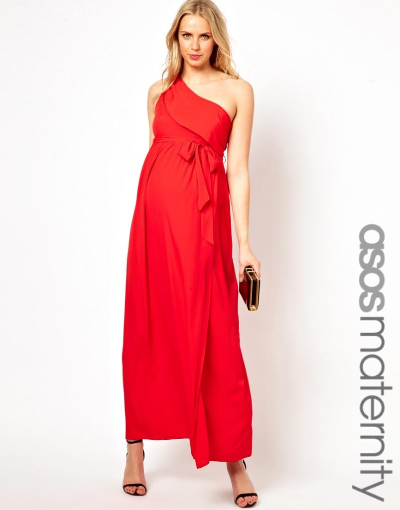 robe longue grossesse rouge asymetrique pour mariage