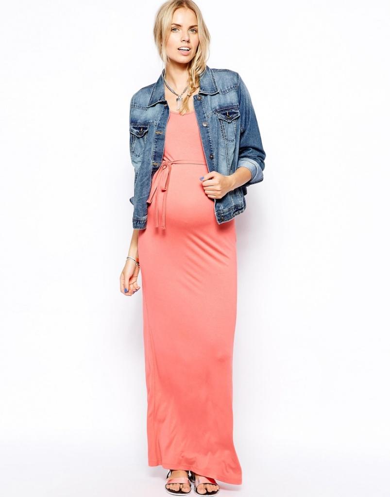 robe longue grossesse saumon avec ceinture cordon