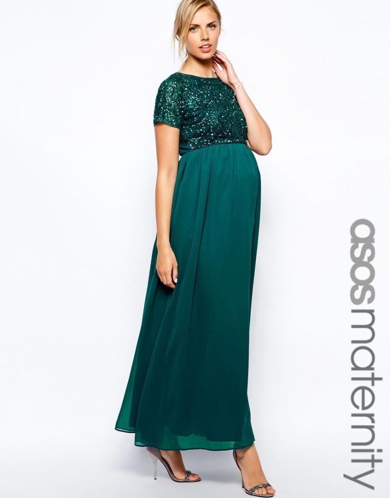 robe longue grossesse vert emeraude habillee xxl