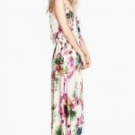 robe longue hm ete fleur fond blanc