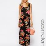 robe longue maternite fleurie fond noir