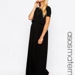 robe longue maternite noire en coton fluide