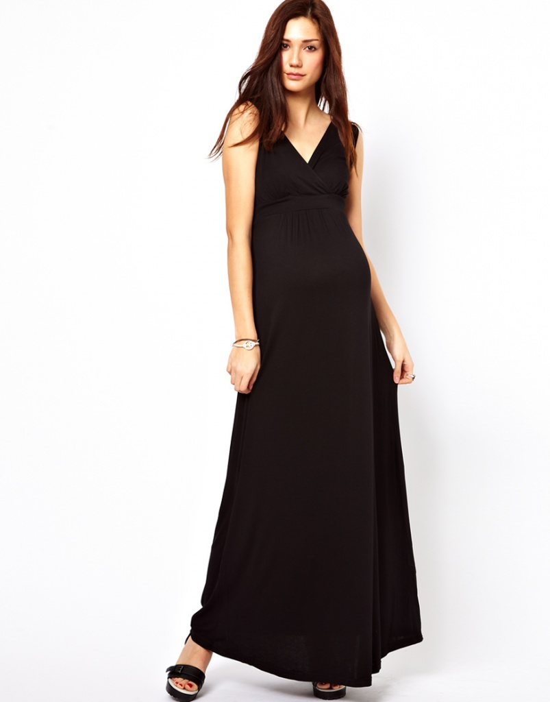 robe longue maternite sans manche decollete en v