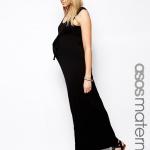 robe longue noire a bretelle moulante pour femme enceinte