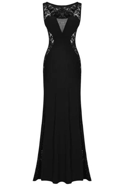 robe longue noire cocktail habillee dentelle