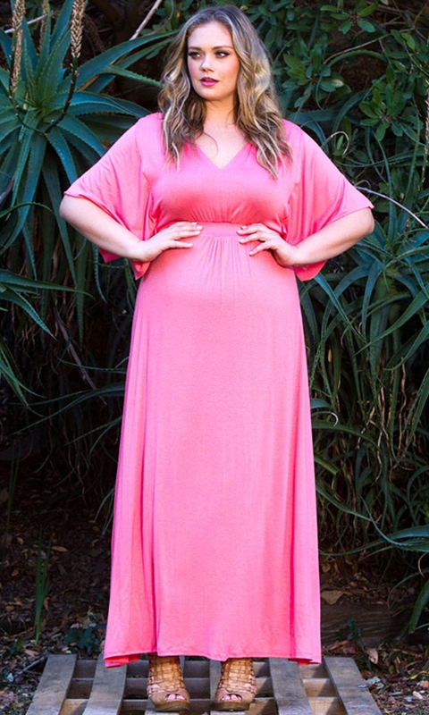 robe longue rose larges manches grande taille vente