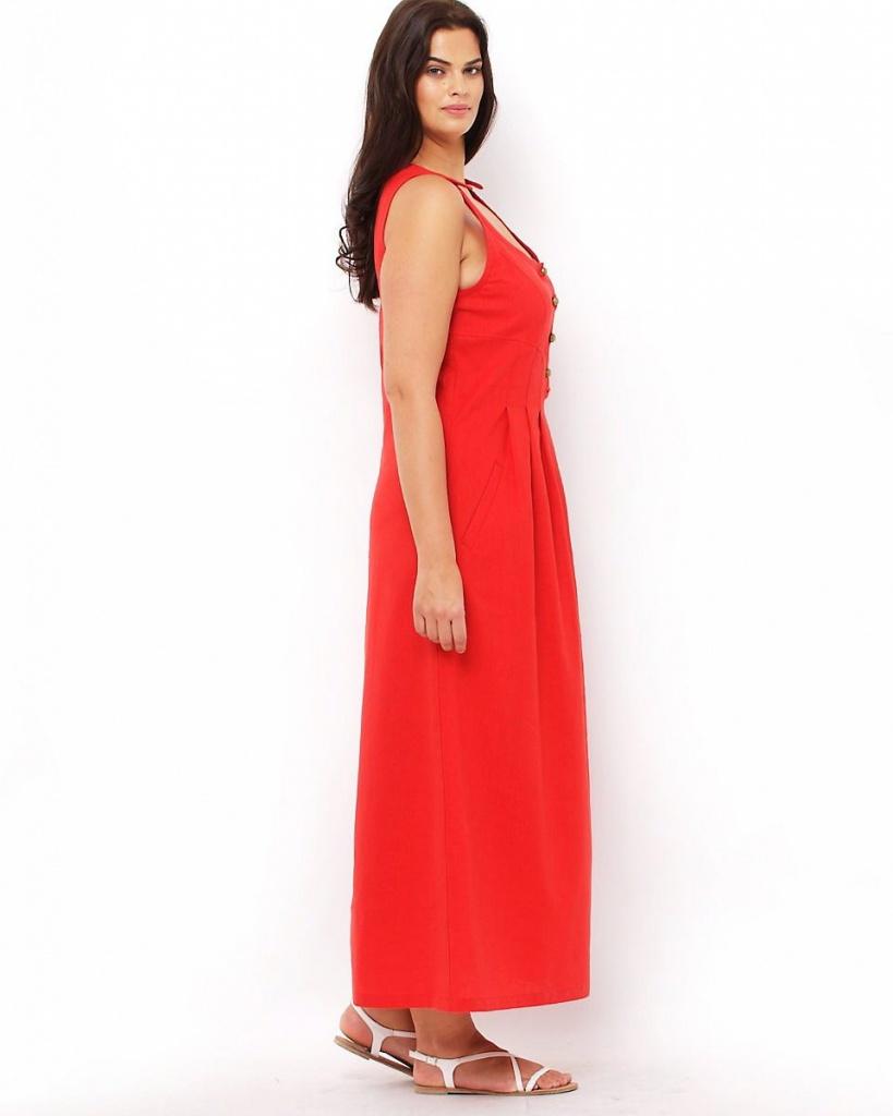 robe longue rouge grande taille fluide ete