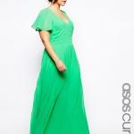 robe longue verte cocktail femme ronde mousseline