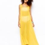 robe longue voile jaune ete pas cher
