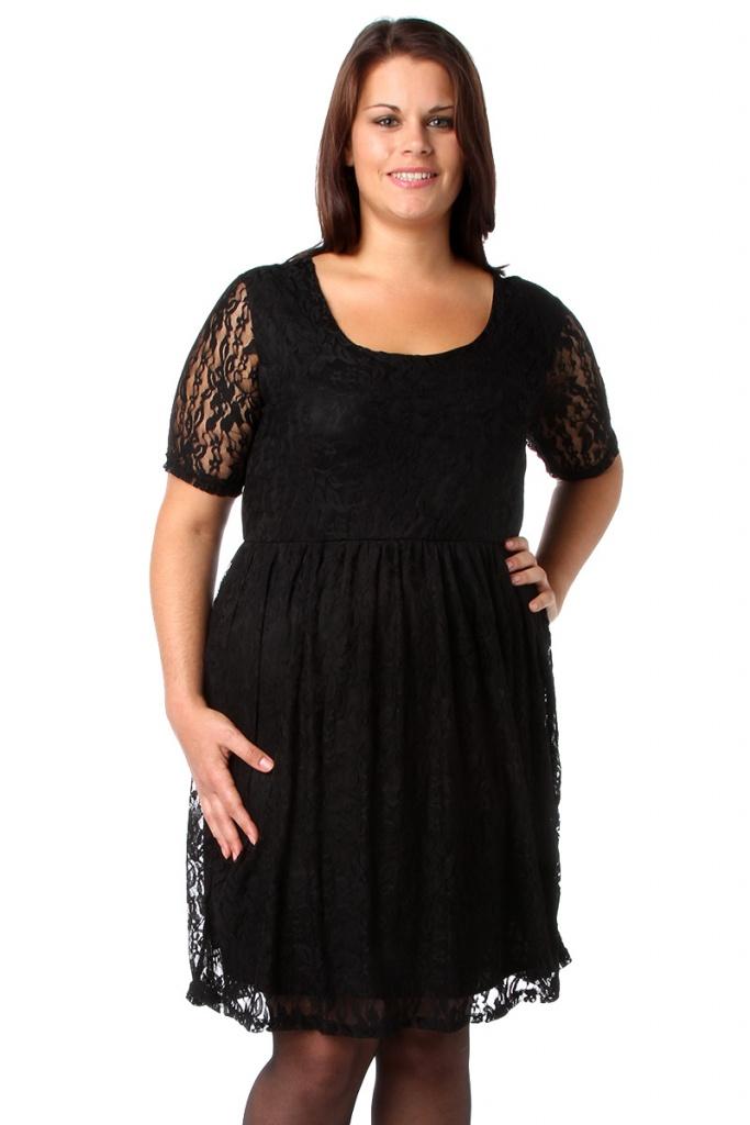 robe manches courtes noire dentelle et longue grande taille tati