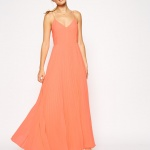 robe mariage longue cocktail mousseline orange saumon fine bretelle