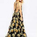robe maxi ete noire a fleur jaune jeux de lacage dos