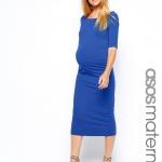 robe mi longue bleu electrique femme enceinte moulante