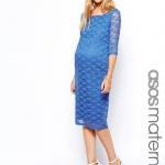 robe mi longue bleu enceinte manches mi longues