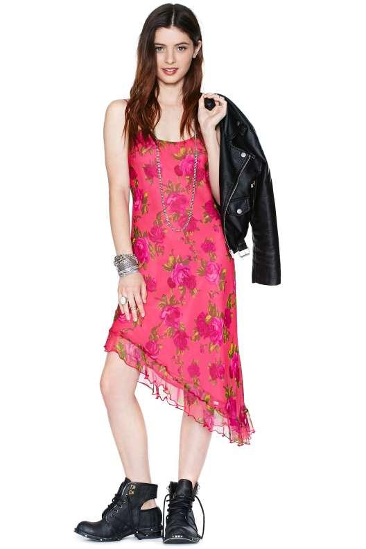 robe mi longue ete rose asymetrique