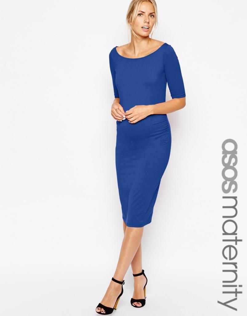 robe mi longue femme enceinte bleu