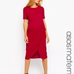 robe mi longue femme enceinte rouge cerise