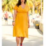robe mi longue grande taille orange jaune forme empire