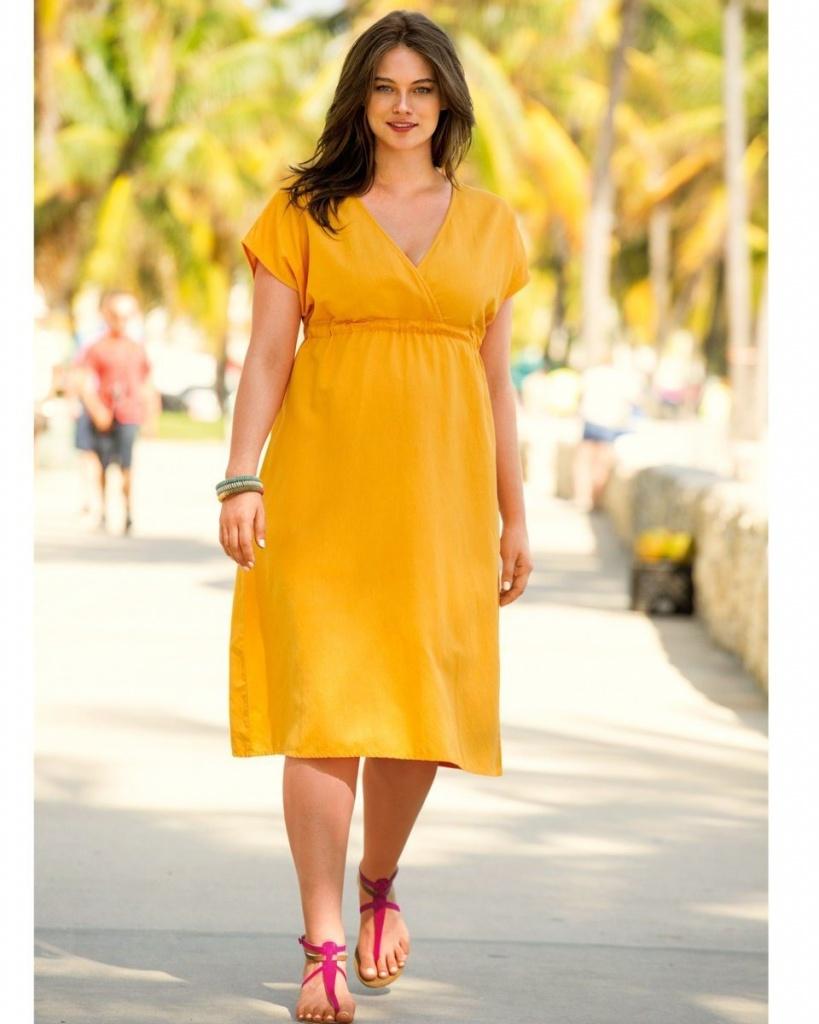 robe mi longue grande taille orange jaune forme empire