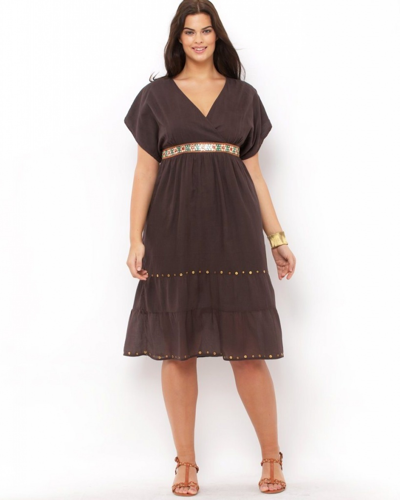 robe mi longue grossesse grande taille marron decollete en v manches courtes