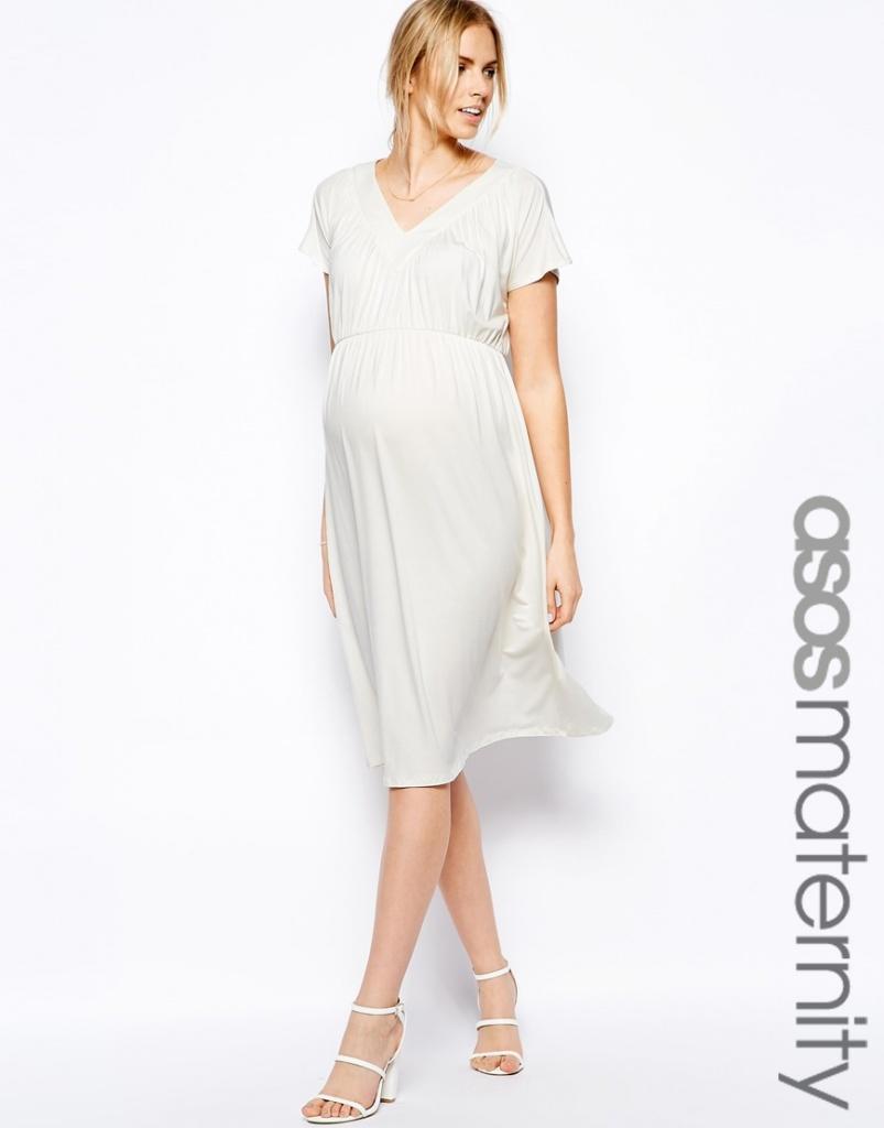 45562e9df9 robe mi longue grossesse pour mariage tres fluide blanche - la robe ...