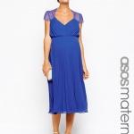 robe mi longue maternite bleu habillee