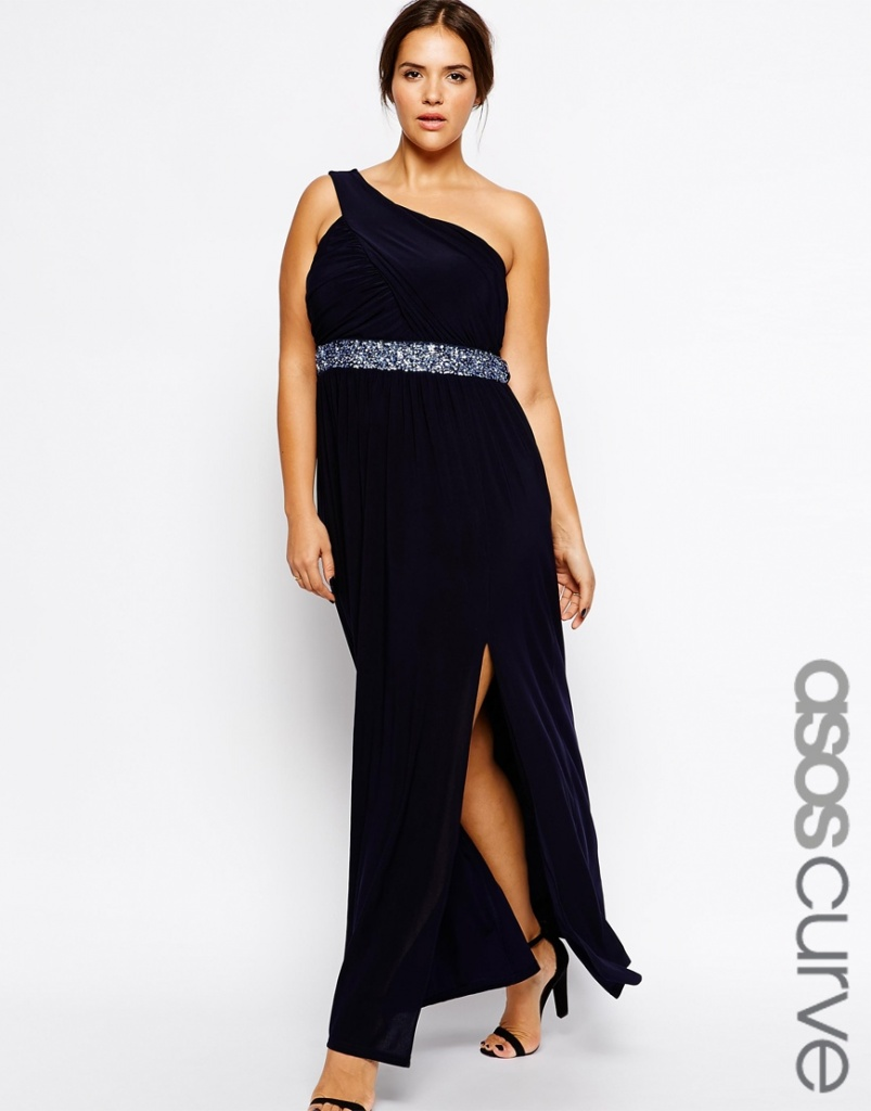 robe noire asymetrique longue grande taille mariage