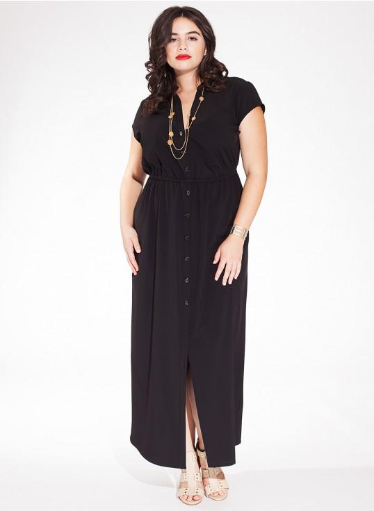 robe noire grande taille longue jean manche courte