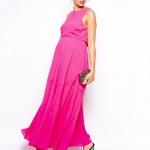 robe rose fushia de grossesse habillee longue mousseline