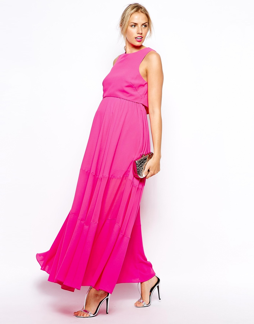 Robe Rose Fushia De Grossesse Habillee Longue Mousseline La Robe Longue