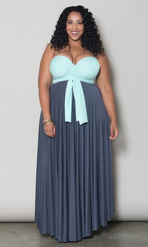 robe taille 50 longue bicolore bustier grise et bleu pastel