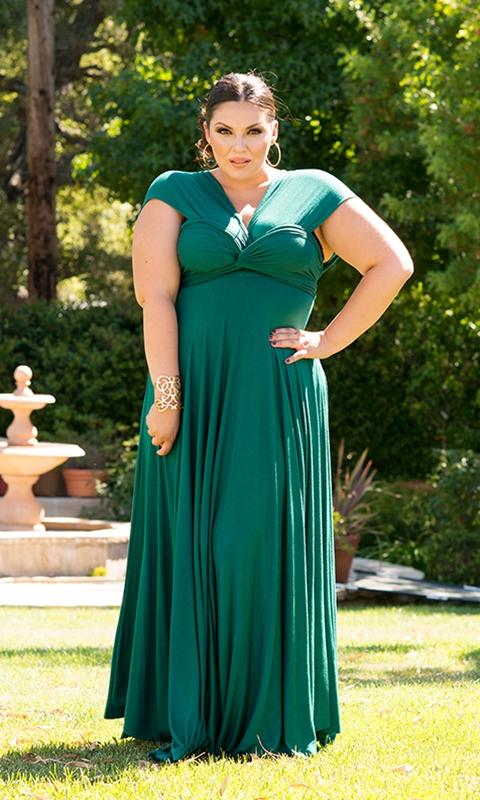 robe-très-longue-grande-taille-manche-courte-emeraude-avec-plis