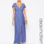 robe tres fluide bleu longue femme enceinte pour mariage