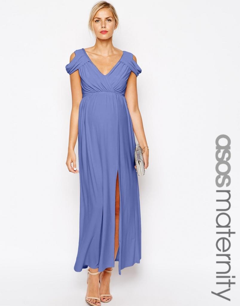 robe tres fluide bleu longue femme enceinte pour mariage la robe longue. Black Bedroom Furniture Sets. Home Design Ideas