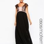 robe tres longue noire et dentelle pour grossesse