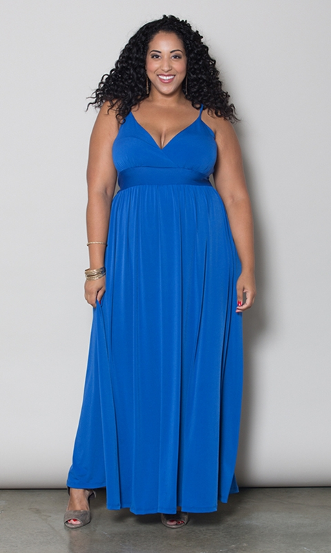 robe ultra longue grande taille a bretelles bleu indigo marque a la taille