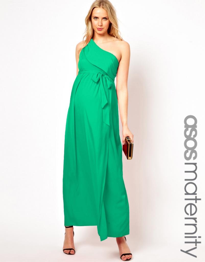 robe verte longue femme enceinte asymetrique une bretelle