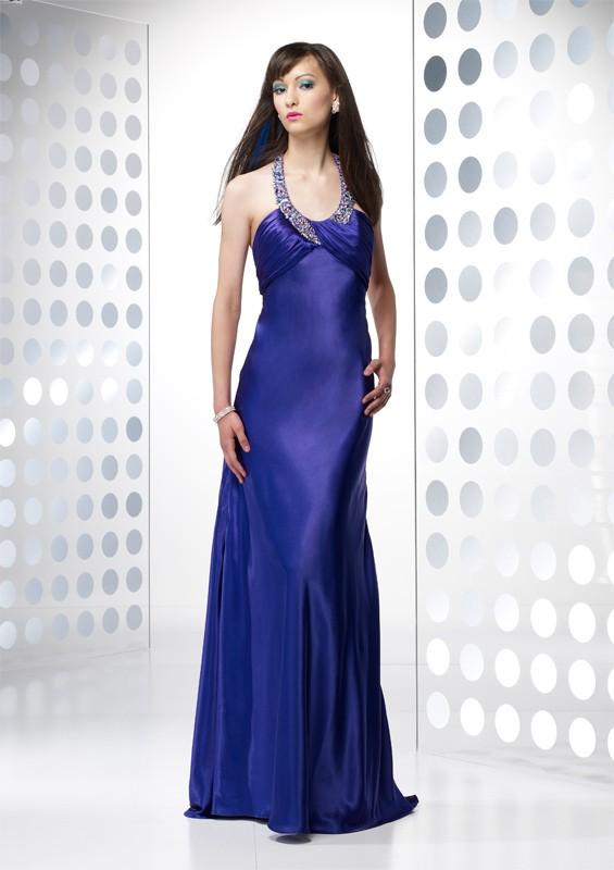 robe violette longue soyeuse ceremonie cocktail soldes
