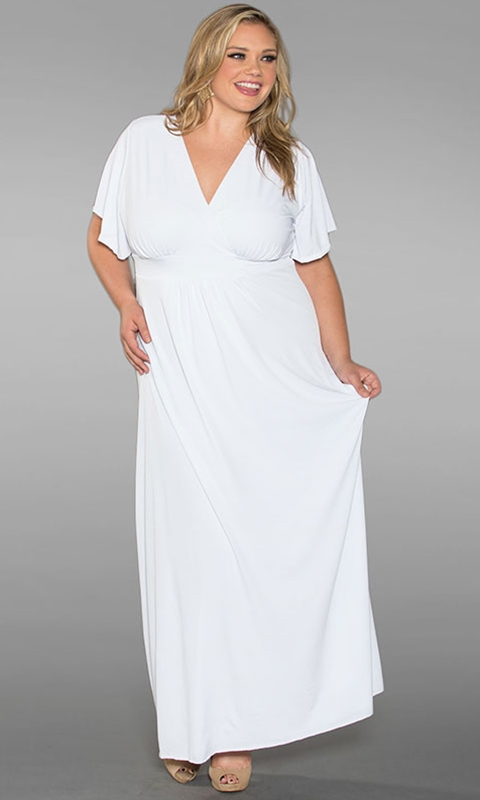 robes grandes tailles longues blanche manches mi longues