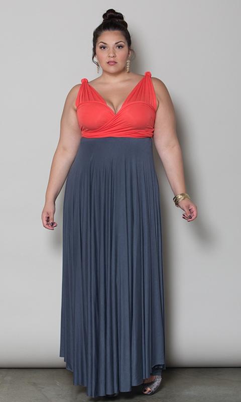 robes grandes tailles longues habillee bicolore grise et corail