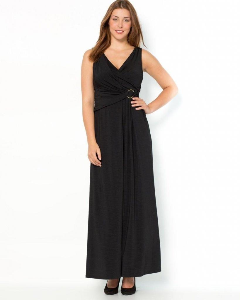robes grandes tailles longues noire sans manche avec taille ajustee