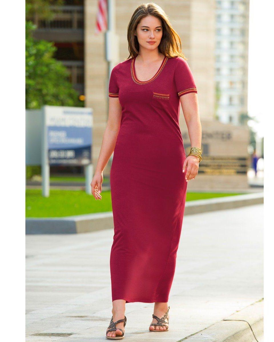 a11a257f93956 robes grandes tailles longues t shirt manche courte bordeaux - la robe  longue